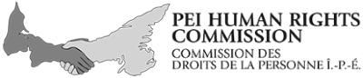 "PEI Human Rights Commission logo. It shows the shape of PEI as two hands shaking with the text ""PEI Human Rights Commission / Commission des droits de la personne Î.-P.-É."""